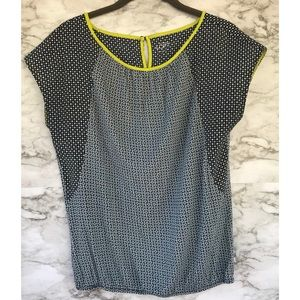 Loft Navy and White Top with lime green trim sz XS